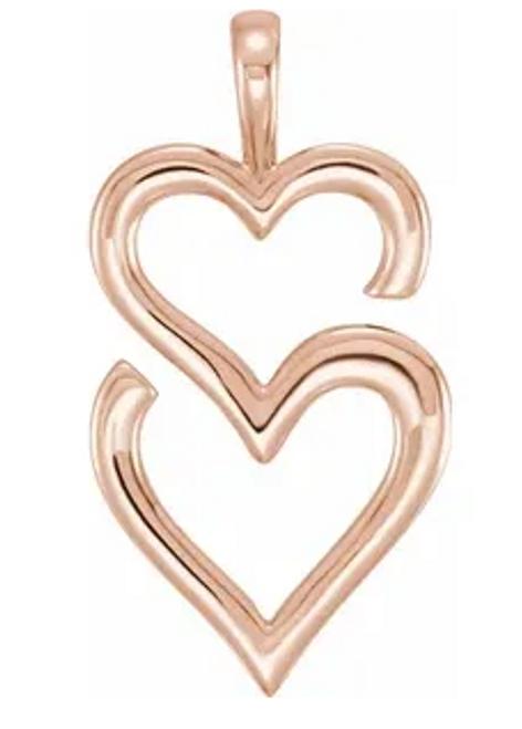 14k rose gold double heart pendant