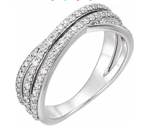 14kwg 1/2cttw diamond criss cross ring