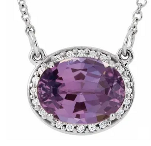 "14kwg Amethyst/diamond halo necklace 16.5"" chain"