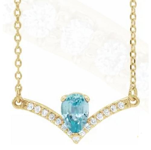 "14kyg pear blue zircon/diamond chevron necklace 16"""