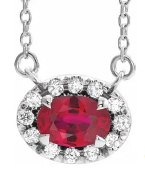 """14kwg ruby/diamond halo necklace 18"""""""
