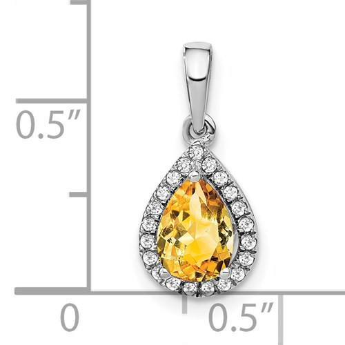 14kwg 0.77ct pear Citrine 1/10cttw diamond halo pendant