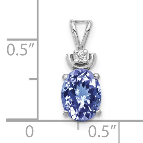14kwg 8x6mm oval Tanzanite 1.35ct/0.02ct diamond pendant