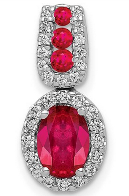 14kwg 1.16ct oval ruby and 1/5cttw diamond halo pendant