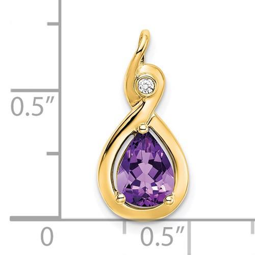 14kyg 0.85ct pear Amethyst/bezel set 0.02ct diamond pendant