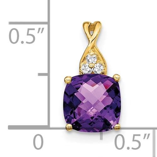 14kyg 1.72ct cushion Amethyst (3) diamond 0.03ctw pendant