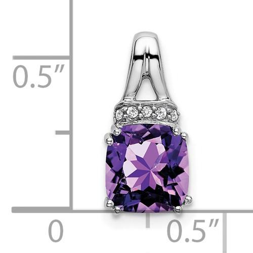 14kwg 1.25ct cushion cut Amethyst/0.045ctw diamond pendant