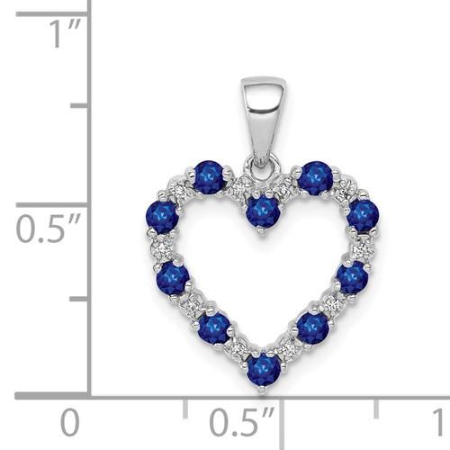 14kwg 1/2cttw blue sapphire/0.03cttw diamond open heart pendant