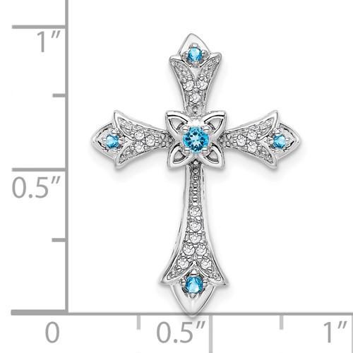 14kwg blue topaz/0.08cttw diamond cross pendant