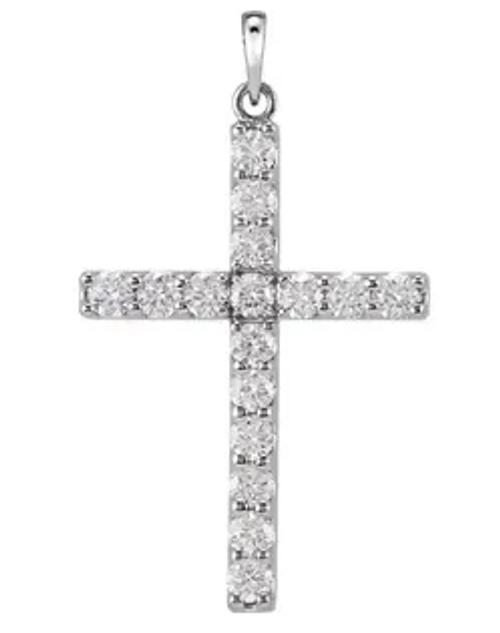 14kwg 1/3ttw diamond cross pendant