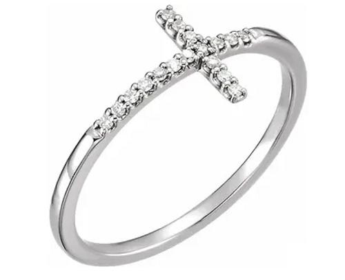 14kwg 0.08cttw diamond sideways cross ring