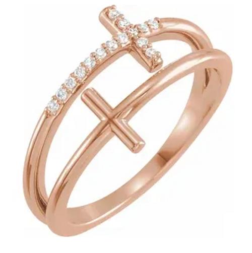 14k rose gold 0.06cttw diamond sideways double cross ring