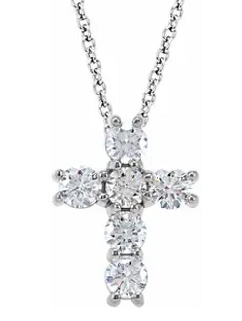 14kwg 3/4cttw diamond cross pendant 14.3mm by 11mm