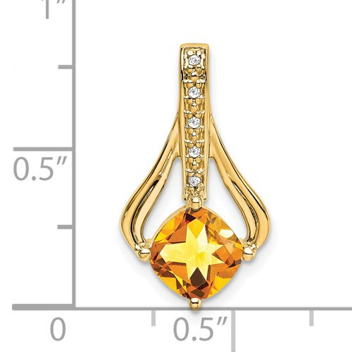 14kyg 1.31ct cushion cut  Citrine/diamond pendant