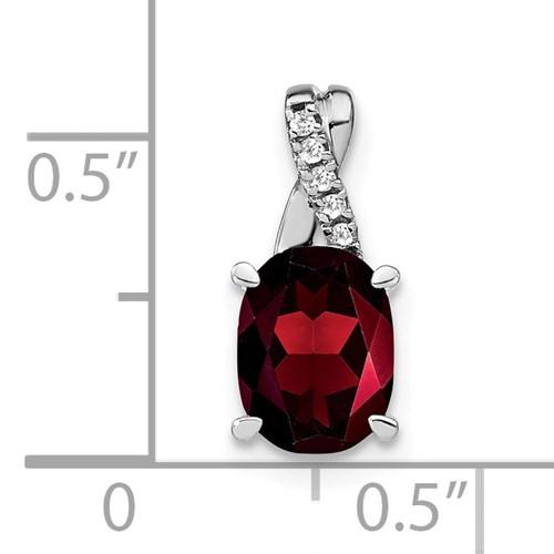 14kwg 1.25ct oval Garnet/0.03cttw diamond pendant