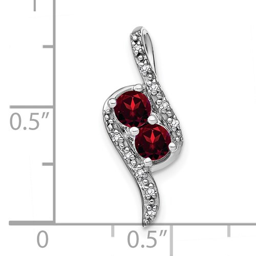 14kwg (2)round Garnets 0.70cttw/0.05cttw diamond pendant
