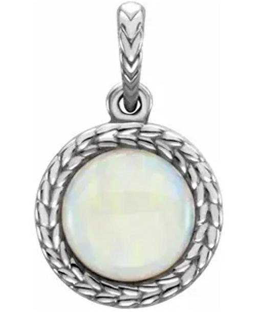 14kwg 8mm white opal leaf pattern pendant