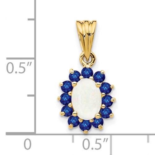 14kyg oval white opal/blue sapphire halo pendant