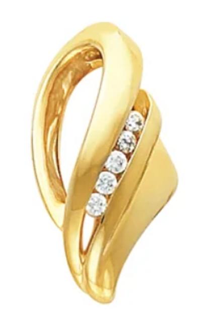 Freeform slide pendant with diamonds