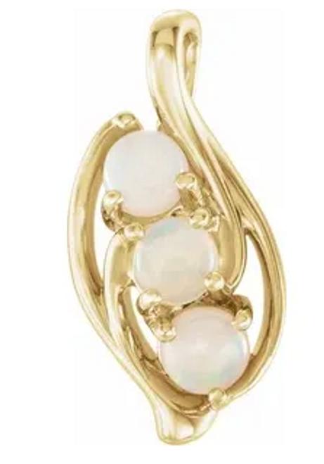 14kyg (3)4mm round white opal free form pendant