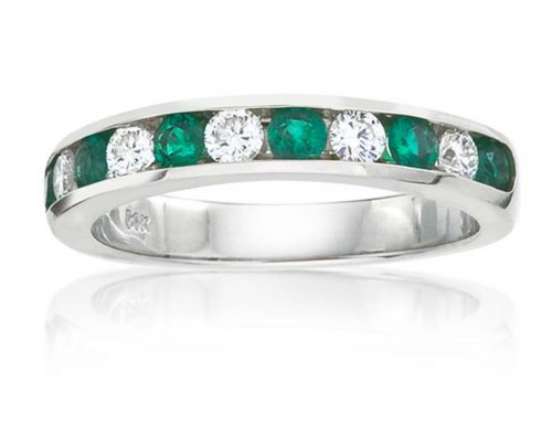 11 stone emerald and diamond channel set band