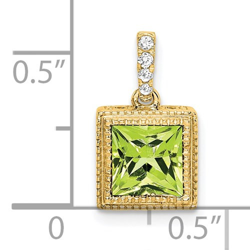 14kyg PC Peridot/diamond pendant