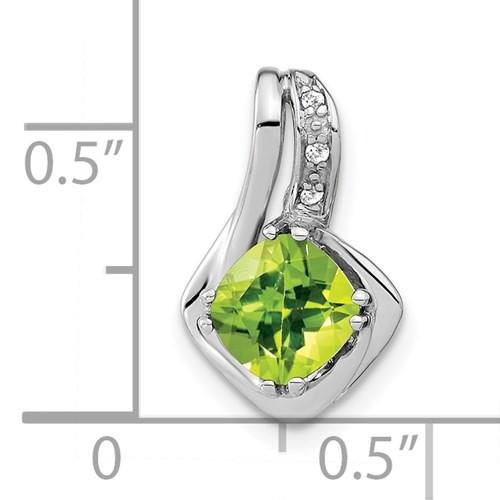 14kwg 1.3ct cushion Peridot/0.02cttw diamond pendant