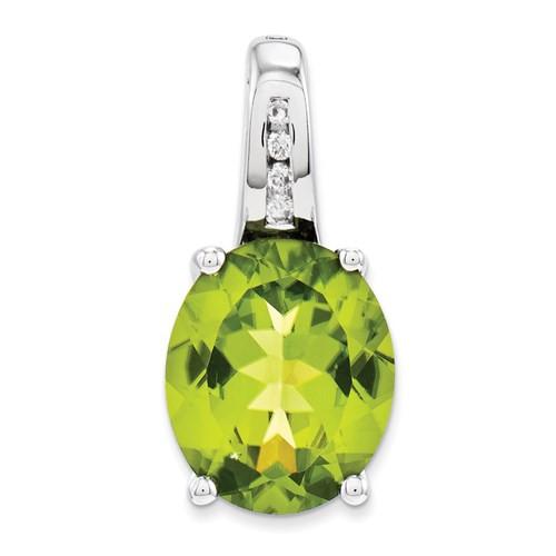 14kwg 5.4ct oval Peridot (4)0.04cttw channel set diamond pendant