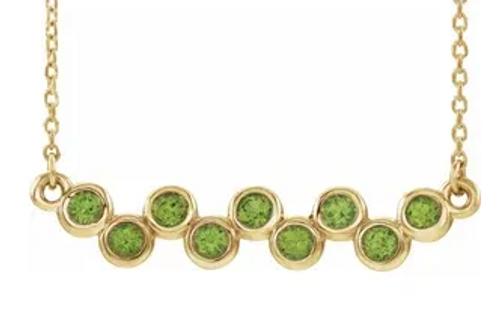 """14kyg (9) 2.5mm round bezel set Peridot bar necklace 16-18"""""""