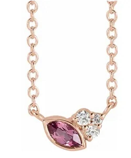 "14k rose gold bezel set MQ pink tourmaline/diamond necklace 16"""