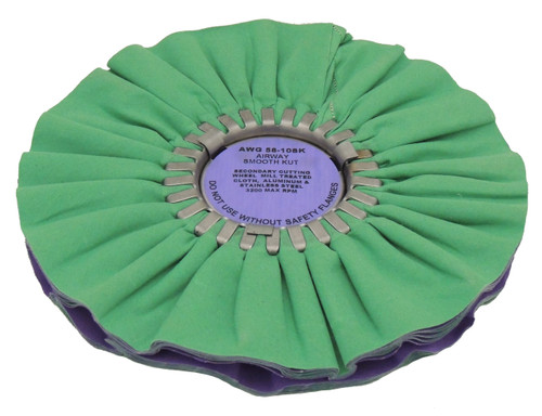 Zephyr Green/Purple Smooth Kut Secondary Cutting Airway Buffing Wheel - 10 inch