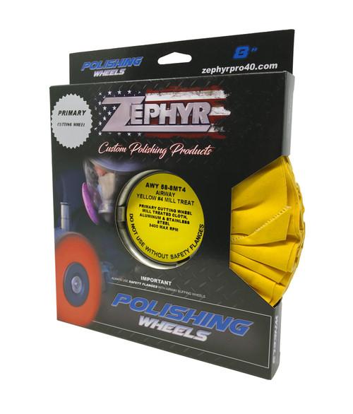 Zephyr Yellow #4 Medium/Heavy Cutting Airway Buffing Wheel-8 inch