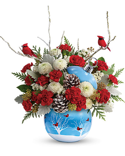 With its hand-glazed finish, fresh blue hue and charming cardinals theme, this keepsake ceramic ornament brings winter magic to a classic red and white arrangement! Red miniature carnations, white button spray chrysanthemums, white sinuata statice, seeded eucalyptus, dusty miller, flat cedar, lemon leaf, birch with cardinal picks, white-tipped pinecones. Delivered in Cardinals In The Snow ornament. Orientation: One-Sided