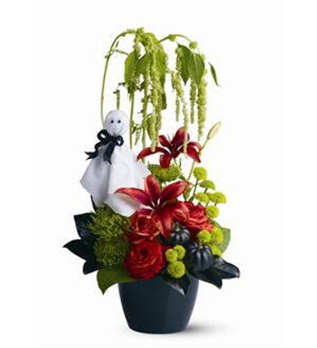 If there's a ghost in the garden, it must be All Hallow's Eve! A lush garden of fresh greens and blossoms is accented with ghoulish black pumpkins, plus a fun fabric ghost with wiggly eyes. Celebrate Halloween with this unique and unexpected floral gift.
