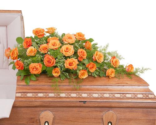 Orange Rose Half Casket Spray