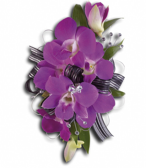 """Purple dendrobium orchids and Italian ruscus rhinestones on a snap bracelet, we coordinate the ribbons with your dress. Approximately 4"""" W x 6 3/4"""" H"""