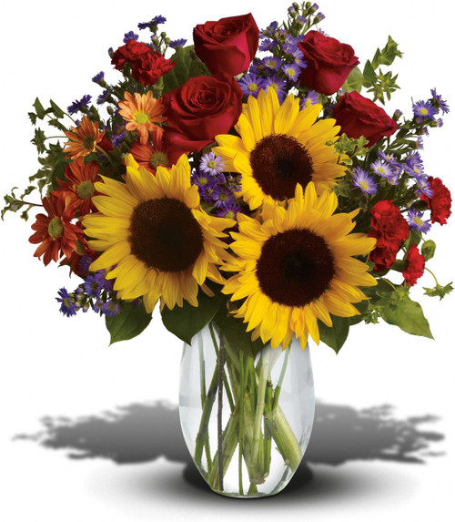 Pure happiness is what this pretty bouquet delivers - whether you're sending it for a fall birthday, Thanksgiving, thank you, or simply just because. Surely, no one can be in the presence of something so inherently happy and not smile.