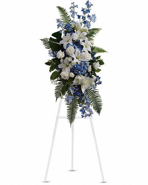 Tranquil blue and white flowers reminiscent of a soft ocean breeze offer comfort. The standing spray presented on an easel includes fragrant white lilies and tropical greenery. This standing spray includes blue hydrangea and delphinium, white roses and asiatic lilies, plus tropical ferns and leaves. Orientation: One-Sided