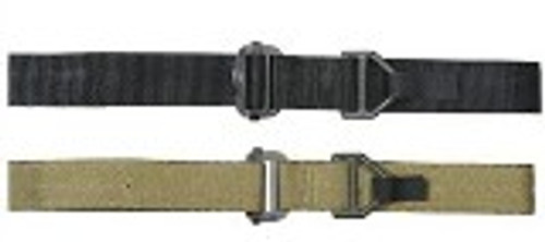 "All Voodoo riggers belts are made in the U.S.A. from 1.75"" wide high strength Nylon webbing. Belts are made extra sturdy as it is intended to hold your sidearm, extra mags and other equipment you might need in the field. Strong enough to be clipped into as a safety attachment or emergency evacuation belt while holding all of your gear. (tested to 4,000lbs) to further lighten the load. Please specify color.  Metal ""D"" Ring    #01-4279    Black, Coyote    S-M (30""-40""), L-XL (39""-53"")"
