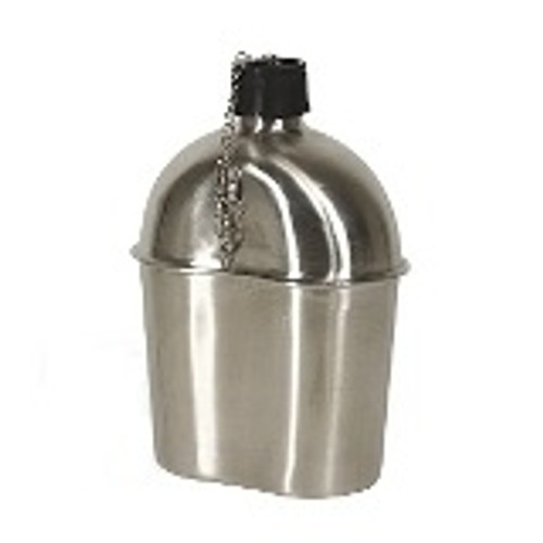 This canteen is a 1 quart food grade stainless steel replica of the canteen used in WWII. Like the original, this canteen comes with a plastic screw cap and chain to prevent its being lost in the field