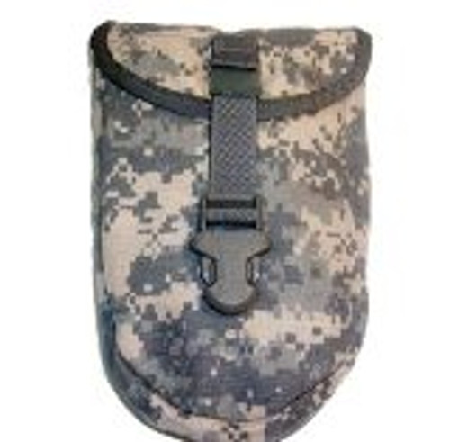This cover will attach to any standard MOLLE webbing vests, pouches, backpacks, ect. It has a buckle closure to secure the flap over the top of the shovel.