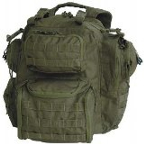 "The perfect size pack with padded comfort back and adjustable padded shoulder harness with attached electronic instrument pouches. Multiple side, upper and lower rear pockets, all with reversed coil zippers to keep the sand out. Lots of universal webbing for various pouch attachments, integrated handles with extra straps and buckles to attach to your drag bag. Hook-n-loop I.D. patch on front, advanced harness retention system for maximum load carry. Enhanced removable padded waist belt with universal straps. Hydration compatible. Padded side-zip compartment for laptop computer carry with ""inside the pack"" office pockets. We've combined the best of the features found in the newest technology hiking packs with the needs and requirements of troops on the go.  Dimensions: 11″L X 7″W X 20″H  Capacity: 25 Liters  Weight: 3.07 lbs"