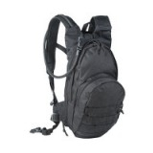 "Professionally designed hydration system for law enforcement, military, or the hiking trail. Expander zipper adds an extra 3"" to the main compartment. Rugged nylon construction. Heavy-duty self-repairing nylon zippers with pulls. Large gear compartment. Front pocket has mesh dividers and key hook inside. Easy grab drag handle. Straps for adding Universal or Alice clip pouches. Right or left hose guides. Easy access reservoir pocket. Padded contoured adjustable shoulder harness. ""Keep cool"" mesh backing. ""D"" ring attachment points. Adjustable waist belt. Deluxe bladder included with color matched neoprene hose cover included. Measures 7""L x 4 1/2""W x 17""H"