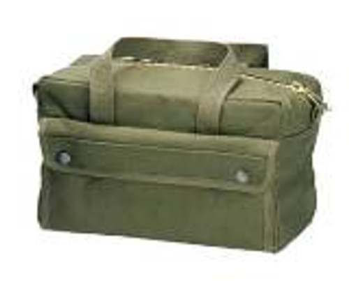 """Comes in O.D. Green, Black or Coyote 11"""" x 6 1/2"""" x 5 1/2"""" With a heavy duty Brass Zipper Inside pocket with Velcro separations Outside pocket with snap over cover Main compartment has a fiber no-sag bottom Two webbed carrying straps Will hold 3 boxes of 12 gauge shotgun shells (in their boxes"""