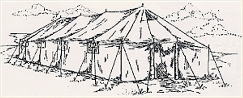 "G.P. Large 18'X52' The G.P. Large Tent is 18 feet wide by 52 feet long.The walls are 5'8"" with a twelve foot ridgeline height.The tent features four windows on each sidewall and one doorway at each end. The entire sidewall rolls and ties in the up position for flow through ventilation. Standard stovepipe shield are located on the roof to accommodate the standard military heaters 4"" pipe"