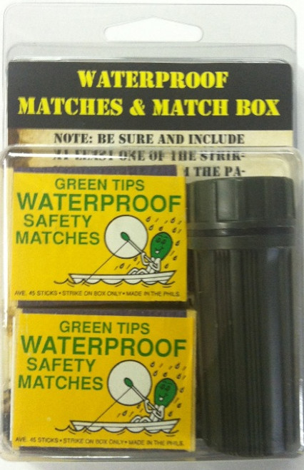 Two box of Safety matches (can not light accidentally) that have waterproof heads One waterproof Olive Drab matchbox