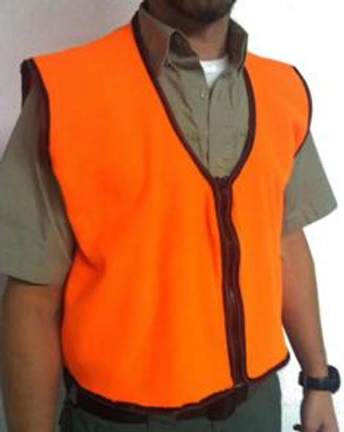 Fluorescent orange Made of a wind and water resistant fleece fabric Full length zipper Made in the USA
