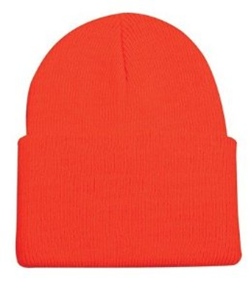Knitted of soft/warm acrylic Cap may be rolled up or down over ears One size fits all