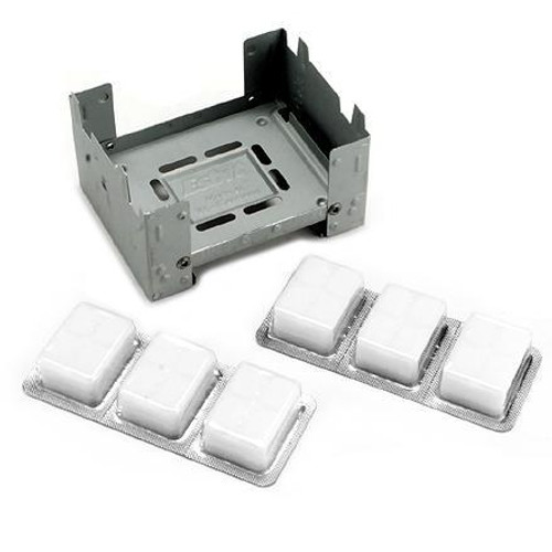 "Made in Germany of plated tensile steel 3"" x 4"" x 3/4"" closed Weighs 3.25 oz. Includes 6 Esbit 14 gr. solid fuel tabs"