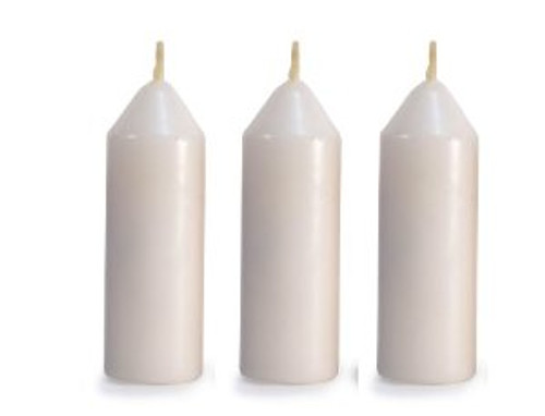 "1 3/16"" x 4 "" candle Extra long burning Great night light, use as an emergency candle Will fit many candle lanterns Available in packages of 3 Made in the USA"